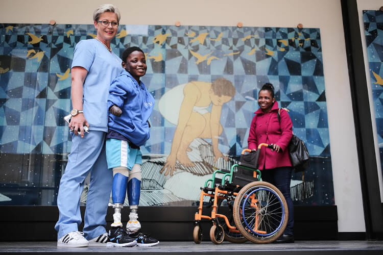 Mother weeps with joy as 10-year-old takes his first steps
